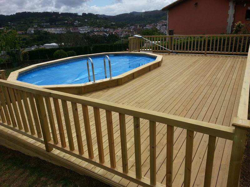 Entarimado de madera tratada para exteriores - Piscinas desmontables bricodepot ...
