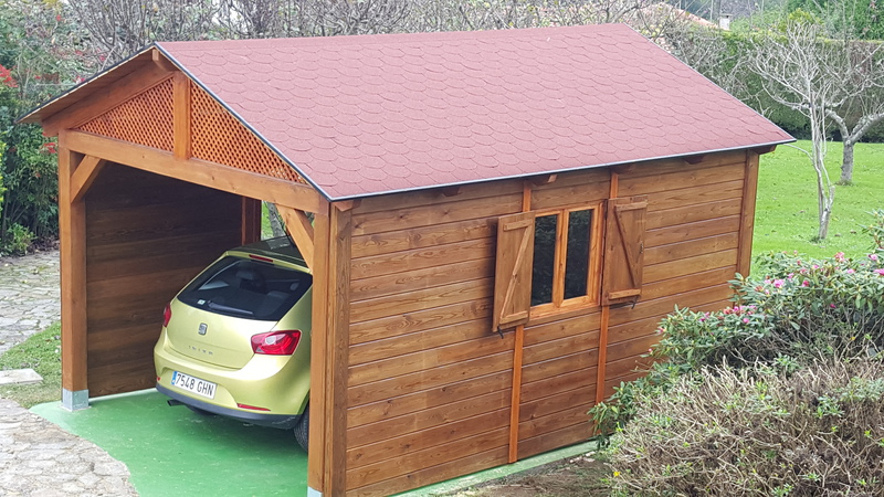 Garaje madera tratada 5 3 cerrado - Garaje de madera ...